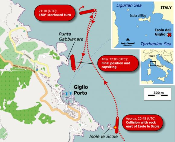 Location of Costa Concordia cruise-ship disaster