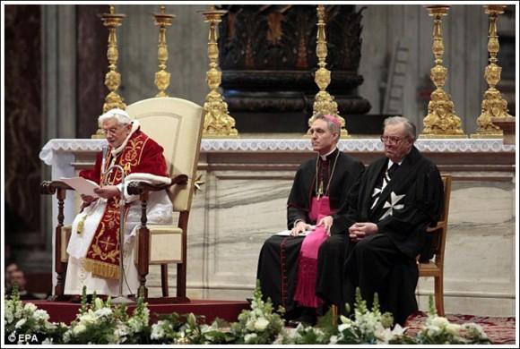 Прием у Папы.  Великий магистр Фестинг - справа