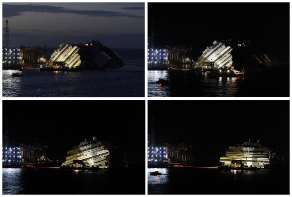 """A combination photo shows the capsized cruise liner Costa Concordia during and at the end of the """"parbuckling"""" operation"""