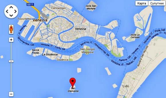 San Clemente Island on the map of The Venetian Lagoon (Lagoon of Venice)