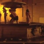 Naked tourists frolic in priceless fountain