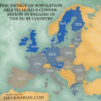 INTERESTING MAP. Percentage of population able to hold a conversation in English in the EU by country