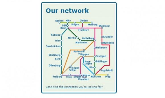 Схема маршрутов Deinbus.de